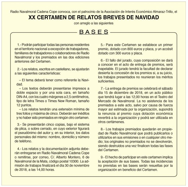 XX Certamen de Relatos Breves Bases